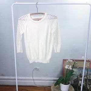 Philosophy Cream Perforated Sweater - Small